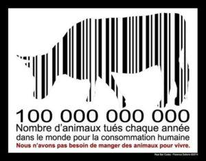 100 000 000 000 : nombre d'animaux tués chaque année dans le monde pour la consommation humaine
