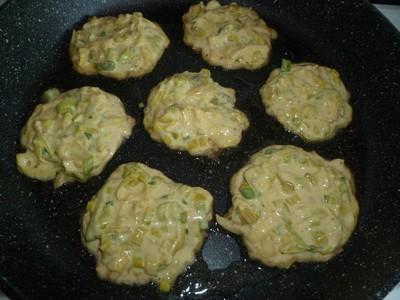 Pancakes de poireaux cuisson1