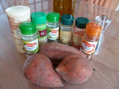 Frites de patates douces ingrédients