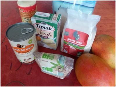Riz gluant à la mangue ingrédients