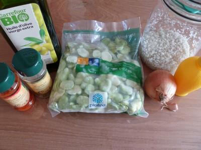 Ingrédients pour la salade de fèves