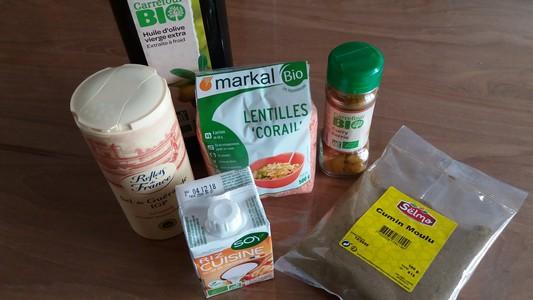 Tartinade de lentilles corail au curry  ingrédients