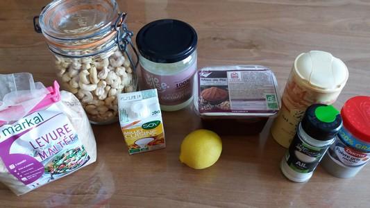 Tartinade à la noix de cajou ingrédients