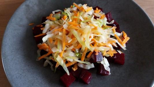 Salade tiède à la betterave présentation
