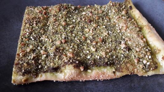 Parmesan végétal cajou amandes sésame sur pizza